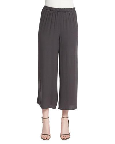 Wide-Leg Georgette Cropped Pants, Plus Size