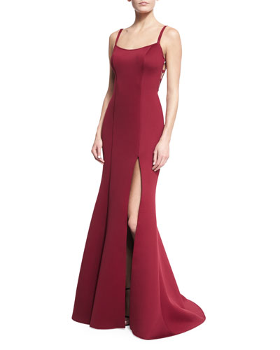 Sleeveless Scuba Mermaid Gown, Dark Red