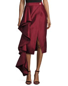 Aideen Cascade Ruffle Taffeta Skirt, Wine