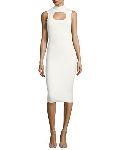 Leticia Sleeveless Ponte Midi Dress, Cream