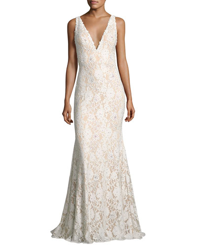 Sleeveless Embellished Lace Mermaid Gown, Off White