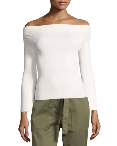 Fabia Off-the-Shoulder Ponte Top, Cream