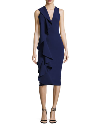 Ceara Sleeveless Ponte Ruffle Sheath Dress, Navy