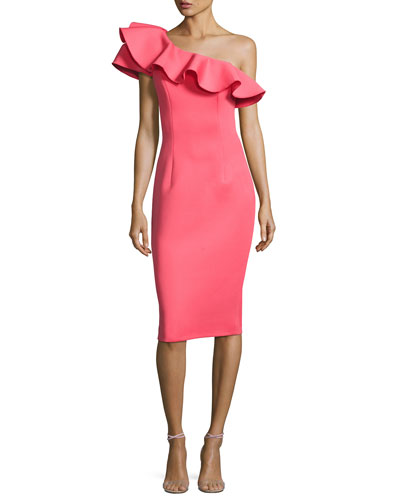 One-Shoulder Ruffle Scuba Cocktail Dress, Watermelon