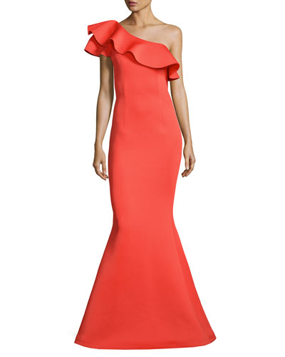 One-Shoulder Ruffle Mermaid Gown, Orange