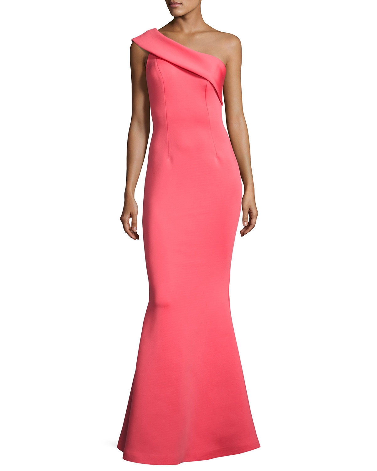One-Shoulder Scuba Mermaid Gown, Watermelon