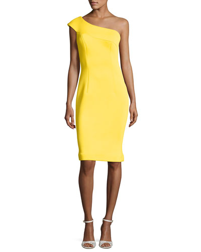 One-Shoulder Scuba Cocktail Dress, Yellow