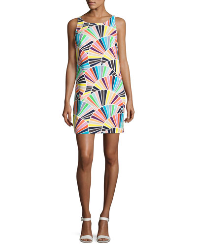 Cosme Sleeveless Geometric Shift Dress, Multicolor