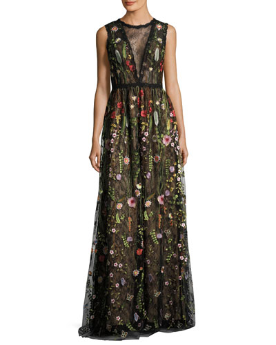Sleeveless Embroidered Floral Lace Gown, Multicolor