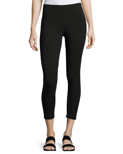 Jersey Ankle Leggings, Black, Petite