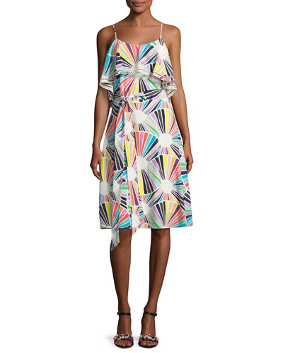 Isabel Sleeveless Geometric Silk Popover Dress, Multicolor