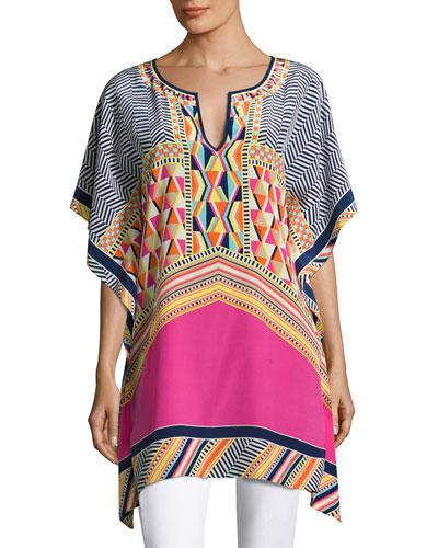 Theodora Silk Multipattern Tunic, Multicolor