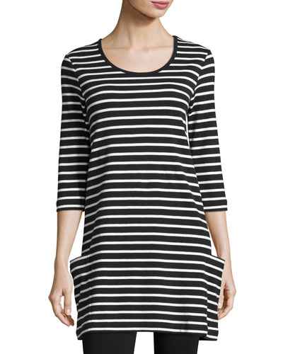 Striped Cotton Interlock Tunic, Black/White, Petite