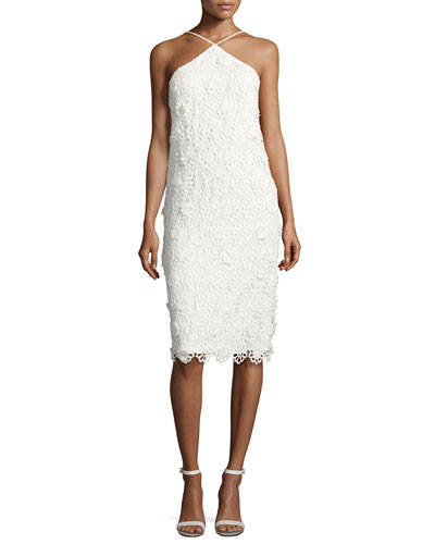 Conga Sleeveless 3D Lace Cocktail Dress, Whitewash