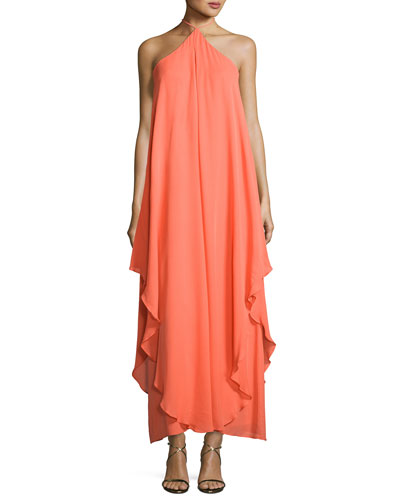 Ginger Silk Chiffon Maxi Dress, Rum Punch