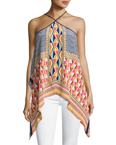 Tully Sleeveless Geometric Silk Blouse, Multicolor