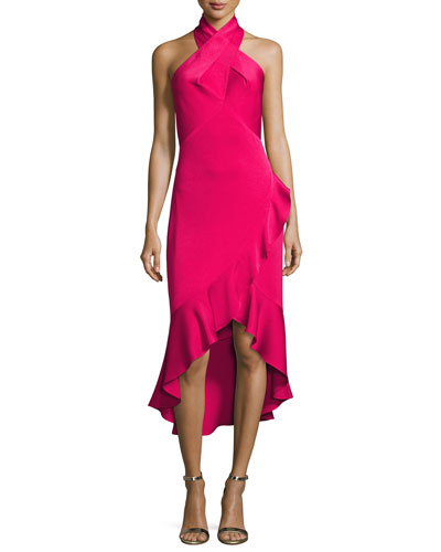 Evelina Crepe Halter Cocktail Dress, Raspberry