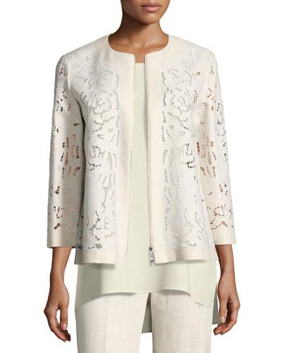 Lavish Embroidered Floral-Cutout Linen Jacket, Light Beige, Plus Size