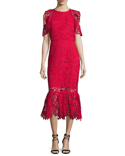 Francoise Cold-Shoulder Lace Midi Dress, Raspberry