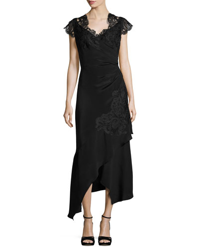 Alina Lace-Trim Silk Crepe de Chine Cocktail Dress, Black