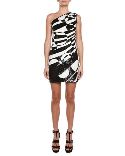 Allover Beaded One-Shoulder Mini Dress