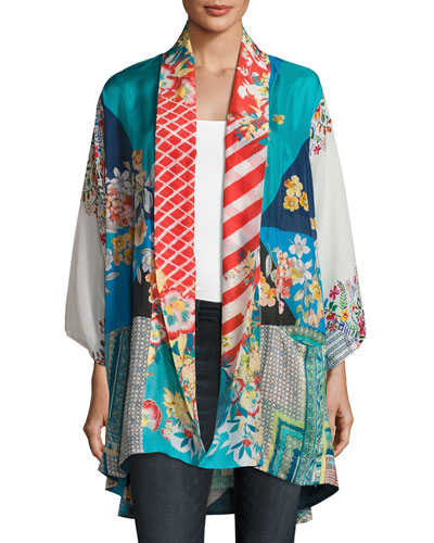 Mixed-Print Habutai Kimono Jacket, Plus Size