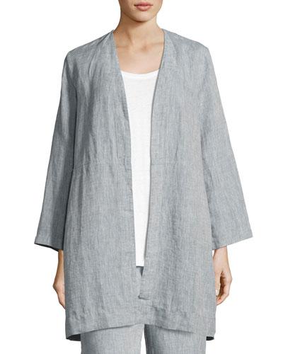 Yarn Dyed Handkerchief Linen Long Jacket, Chambray