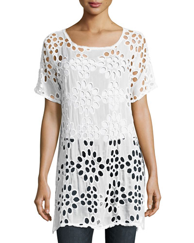 Lalla Long Eyelet Tunic, White, Plus Size
