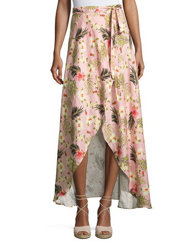 Ballerina Printed Long Wrap Linen Skirt, Pink