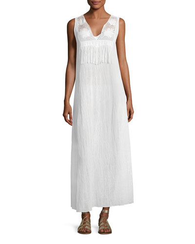 Becky Cotton Gauze Maxi Dress, White
