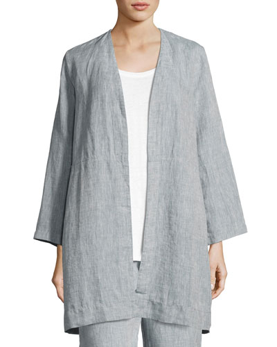Yarn Dyed Handkerchief Linen Long Jacket, Chambray, Petite