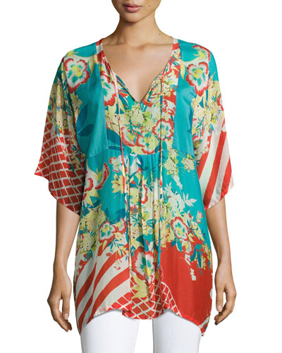 Floral-Print Bias Tie-Neck Top, Multicolor, Plus Size