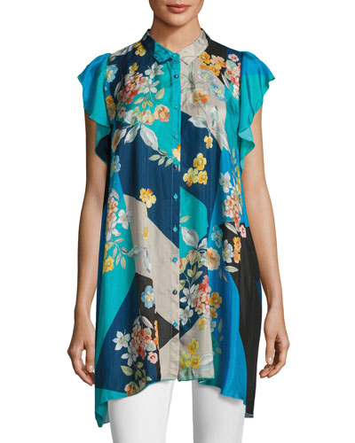 Modelo Flutter-Sleeve Habutai Print Top, Plus Size