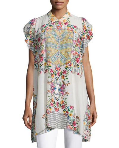 Johnny Was Modelo Flutter - Sleeve Printed Top, Plus Size