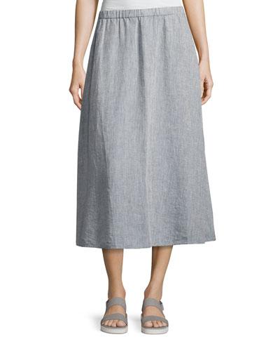 Yarn Dyed Handkerchief Linen Skirt, Chambray