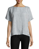 Yarn-Dyed Organic Linen Top, Medium Blue