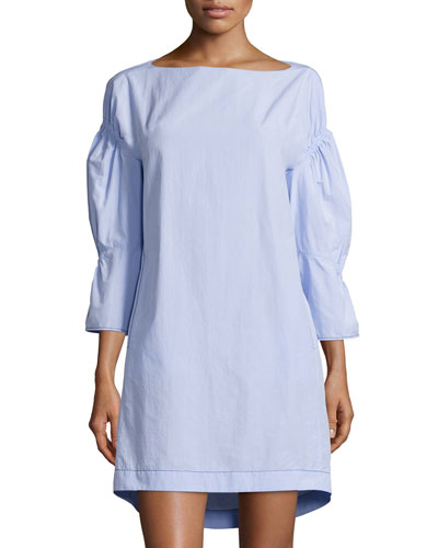 Puff-Sleeve Gathered Shift Dress, Sky