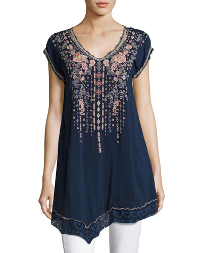 Rubina V-Neck Embroidered Long Tunic, Blue Night, Plus Size