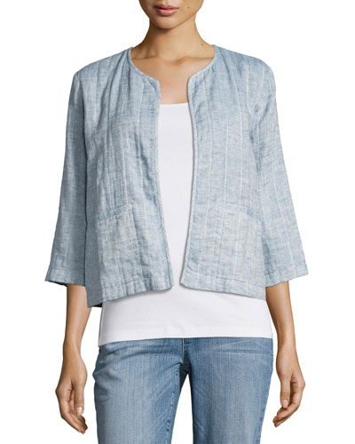 Quilted Organic Cotton/Linen Short Jacket, Chambray, Plus Size