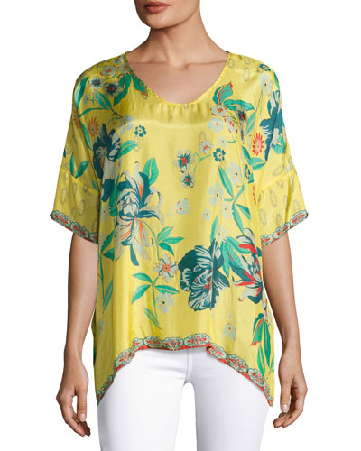 Nancy Floral-Print Silk Habutai Top, Plus Size