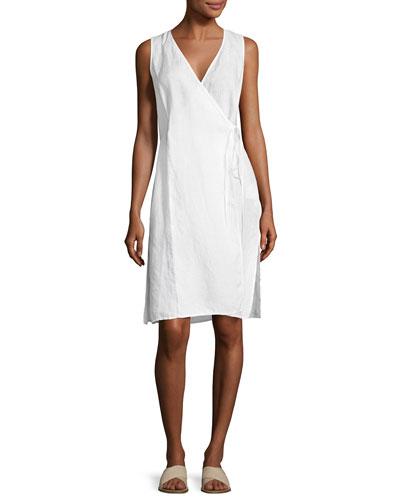 Handkerchief Linen Wrap Tunic, White, Petite