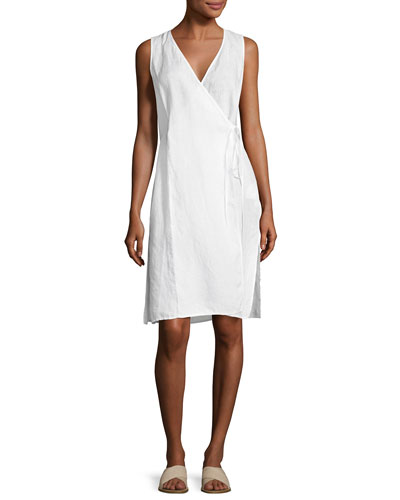 Handkerchief Linen Wrap Tunic, White, Plus Size