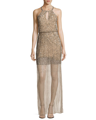 Sleeveless Embellished Blouson Gown, Nude