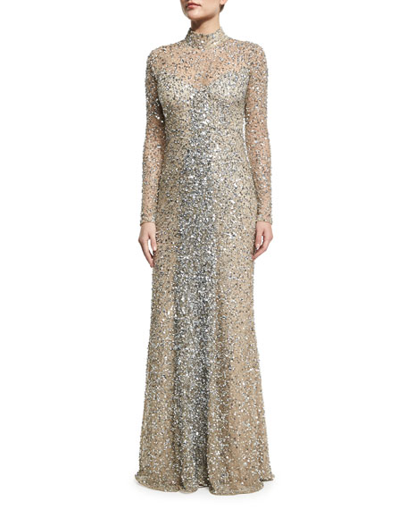 Parker Black Leandra Long-Sleeve Beaded Gown, Silver