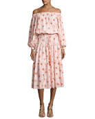 Tilia Floral-Print Off-the-Shoulder Midi Dress, Pink