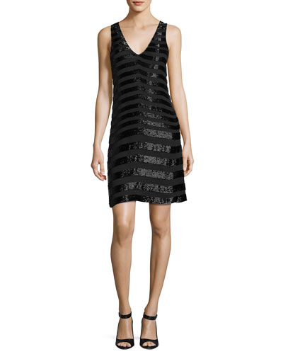 Lucy Sleeveless Beaded Stripe Cocktail Dress, Black