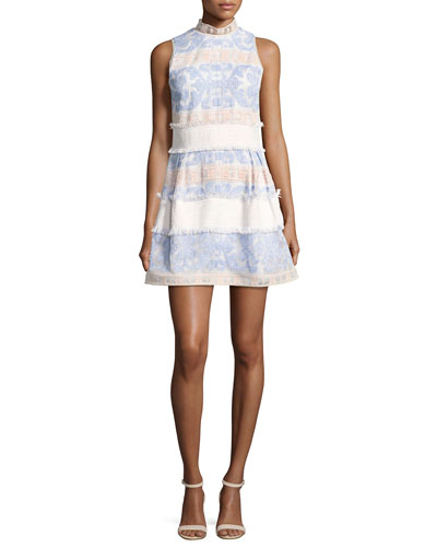 Minika Embroidered Mock-Neck Dress, Blue Pattern