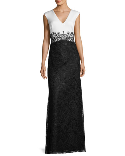 Sleeveless Two-Tone Floral Lace Dress, White/Black