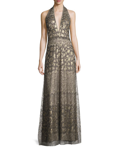 Sequin Georgette Halter Gown, Dark Pearl/Multicolor