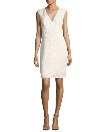 Sleeveless Floral Lace Cocktail Dress, White